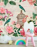 Birdcage Flower Wall Mural Baby Girls Room Nursery Decor Art Decal Gift DIY B46