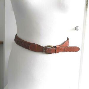 "VINTAGE Tan Brown Real Leather Woven belt Hippy Boho Distressed Sz L / 40"""