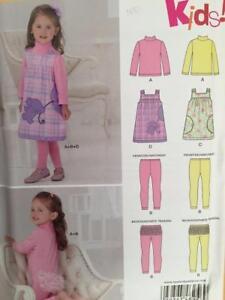 New Look Sewing Pattern 6256 Girls Toddler Dress Jumper Legging Size 1/2-4 UC