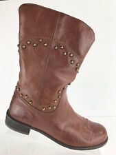 Stuart Weitzman Brown Studded Leather Mid Calf Boots Women's Sz 8.5 M Spain