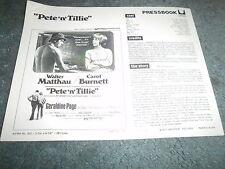 PETE 'N' TILLIE(1972)CAROL BURNETT ORIGINAL PRESSBOOK+