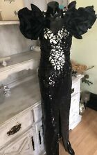 Vintage 80's Long  Sequin HUGE Ruffle STATEMENT Prom Dress AMAZING SZ XXS-XS*