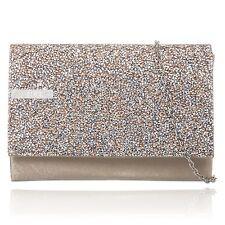 Beige/Champange Glitter Sparkle Wedding Ladies Party Evening Clutch Hand Bag
