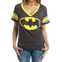 DC Comics Batman Logo Deep V-Neck Striped Sleeves Juniors Charcoal Shirt New M
