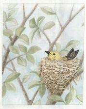 Vignette de Tissu 12x15 cm Oiseau Nid Piece of Cotton Fabric Nest