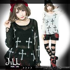 street Punk K-POP magnus holy cross unisex distressed thin sweater J2W0010