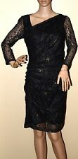New $298 Andrew Marc Black Lace Sheath Dress gold formal or Cocktail 4