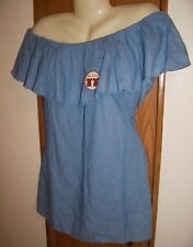 L  top blouse off the shoulder or not ruffle blue faux jean 12 14 REN SCA large