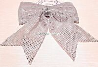 SPARKLING SILVER DiAMANTE SEQUIN LARGE CHRISTMAS BOW GIFT TREE DECORATION XMAS