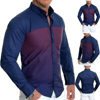 Mens Casual Navy Blue Shirt Red Check 100% Cotton Slim Fit Long Sleeve Smart
