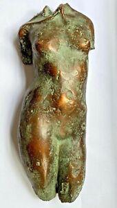 Bronze effect vintage female torso nude art wall sculpture