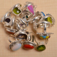 Wholesale Lot 10 Pcs Chalcedony & Mix Gems Silver Plated Ring