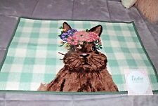 """NEW Spring FLORAL BUNNY Accent RUG 20"""" X 30"""" Rubber Back Cottage Decor Green"""