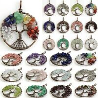 Amethyst Rose Quartz Crystal Agate Chip Gemstone Tree of Life Pendant Jewlery