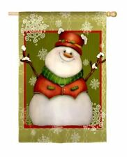 "*NEW* Evergreen ""IT'S SNOW MUCH FUN""  SNOWMAN GARDEN FLAG  DOUBLE-SIDED"