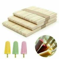 50Pc DIY Wood Popsicle Sticks Ice Cream Stick Cake Wooden Craft Hand Making Set