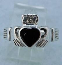 IRISH Lady Sterling Silver Estate CLADDAGH Heart ONYX wedding Band RING sz 5.75