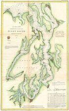1867 Coastal Survey map Chart Puget Sound Washington
