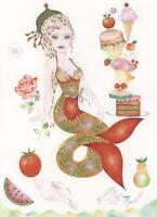 MERMAID CHRISTMAS GOURMET COOK CHEF CHEESEBURGER DINNER DINING HAND SIGNED PRINT