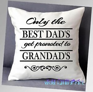 """PERSONALISED BIRTHDAY FATHERS DAY THE BEST DADS CUSHION DAD HUSBAND 16""""x16"""""""