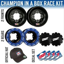 "DWT Blue Champion in a Box 10"" Front 8"" Rear Rims Beadlock Wheels Banshee 350"