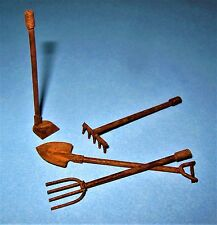 DOLLHOUSE MINIATURE  RUSTIC RUSTY METAL TINY GARDEN TOOLS ~ 4 PIECE FAIRY GARDEN
