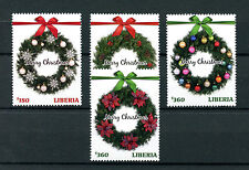 Liberia 2016 couronnes de noël décorations ornements 4v set stamps