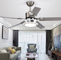 "52"" LED Ceiling Fan Light Chandelier w/ 5 Stainless Steel Blades Remote Control"