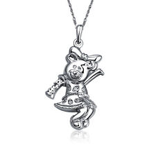 "Alpha Phi Teddy Bear Silver Pendant with 18"" silver Chain Necklace (AP-P501)"