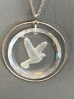 "Vintage Peace Dove In Flight Clear Lead Crystal Intaglio pendant necklace 20"""