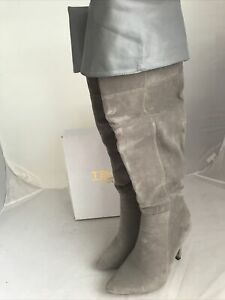 ASOS Truffle Collection Grey Suedette Thigh High Boots Size UK 6 K12