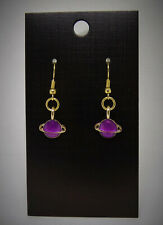Purple and Gold Ring Planet Space Charm Earrings 18K Plated Ear Wires Hooks