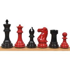 """4.1"""" Pro Staunton Weighted Red & Black Painted Wooden Chess Pieces Only Set"""