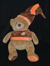 Peluche doudou ours brun beige BABY NAT' pull & bonnet marron orange 32 cm NEUF