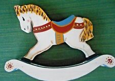 Vintage 1985 Colorful, Wood Rocking Horse-Hand Painted & Signed