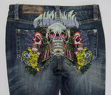 Womens Christian Audigier denim Spider Baby Straight leg jeans Skulls Size 27 34
