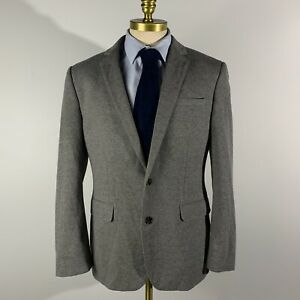 Express Photographer Blazer Fitted Cotton Solid Gray 42R Jacket