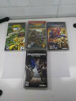 Four PlayStation PSP Games Transformers Spiderman Ben10 SOCOM