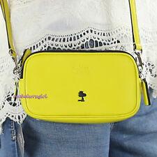 NWT Coach X Peanuts Woodstock Leather Double Zip Crossbody Bag 64423 Yellow RARE