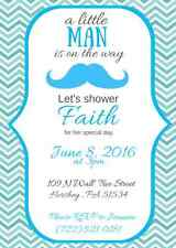 Mustache Baby Shower Invitation, Custom, Personalized, You Print!  Aqua