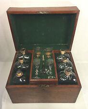 Antique Mahogany Liquor Bottle Case Cellarette Old Glass Bottles Glasses Funnel