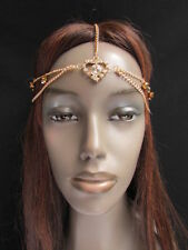NEW WOMEN GOLD METAL HEAD CHAIN FASHION JEWELRY HAIR BAND HEART RHINESTONES