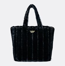 Victoria's Secret $58 FAUX FUR Tote Bag Carryall Handbag~BLACK~Gorgeous!~NWT