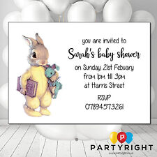 Personalised Baby Peter Rabbit Girl Or Boy Baby Shower Invites Party Card - 10