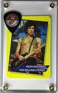 Nice Rolling Stones Keith Richards trading card / official guitar pick display!