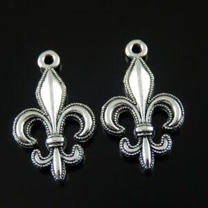 20 Retro Silver Alloy fleur-de-lis Charm Pendant Earrings Jewelry Making 24*14mm