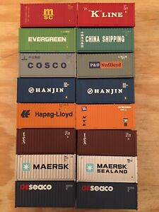 HO Lot of 16 Walthers 40' Intermodal Containers Maersk K-Line Cosco Evergreen