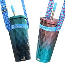 Steel Metal Cup with Lid and Straw Neck Strap Holder Tumbler Music Festival Gig