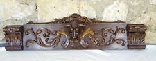 "23""French Antique Pediment Hand Carved Walnut Wood Crest Fronton Green man"