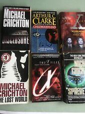 Science fiction paperback book lot X files, Crichton, Clarke